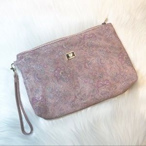 Pink floral leather Ferchi clutch purse